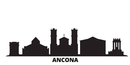 Italy, Ancona city skyline isolated vector illustration. Italy, Ancona travel cityscape with landmarks