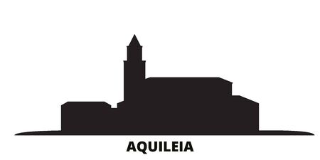 Italy, Aquileia city skyline isolated vector illustration. Italy, Aquileia travel cityscape with landmarks