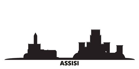 Italy, Assisi city skyline isolated vector illustration. Italy, Assisi travel cityscape with landmarks 向量圖像