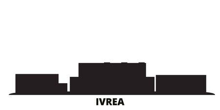 Italy, Ivrea city skyline isolated vector illustration. Italy, Ivrea travel cityscape with landmarks