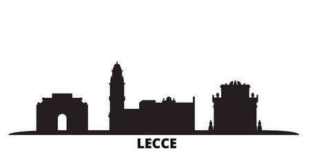 Italy, Lecce city skyline isolated vector illustration. Italy, Lecce travel cityscape with landmarks Ilustrace