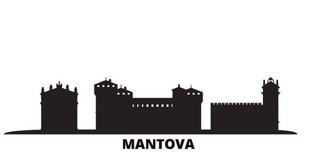 Italy, Mantova city skyline isolated vector illustration. Italy, Mantova travel cityscape with landmarks