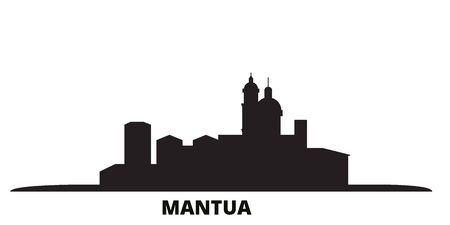 Italy, Mantua city skyline isolated vector illustration. Italy, Mantua travel cityscape with landmarks