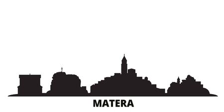Italy, Matera city skyline isolated vector illustration. Italy, Matera travel cityscape with landmarks Ilustrace