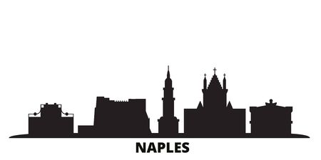 Italy, Naples city skyline isolated vector illustration. Italy, Naples travel cityscape with landmarks