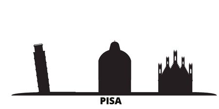 Italy, Pisa city skyline isolated vector illustration. Italy, Pisa travel cityscape with landmarks