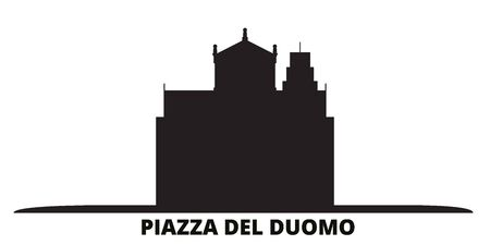Italy, Pisa, Piazza Del Duomo city skyline isolated vector illustration. Italy, Pisa, Piazza Del Duomo travel cityscape with landmarks 矢量图像