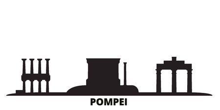 Italy, Pompei city skyline isolated vector illustration. Italy, Pompei travel cityscape with landmarks