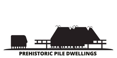Italy, Prehistoric Pile Dwellings city skyline isolated vector illustration. Italy, Prehistoric Pile Dwellings travel cityscape with landmarks 向量圖像