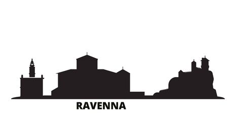 Italy, Ravenna city skyline isolated vector illustration. Italy, Ravenna travel cityscape with landmarks