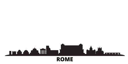 Italy, Rome city skyline isolated vector illustration. Italy, Rome travel cityscape with landmarks Vectores