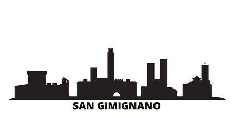 Italy, San Gimignano city skyline isolated vector illustration. Italy, San Gimignano travel cityscape with landmarks Standard-Bild - 134638074