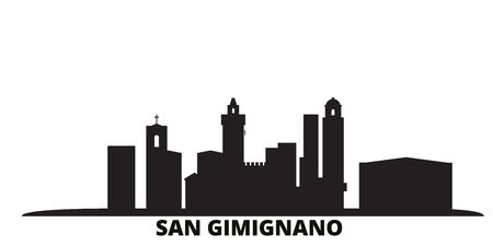 Italy, San Gimignano City city skyline isolated vector illustration. Italy, San Gimignano City travel cityscape with landmarks