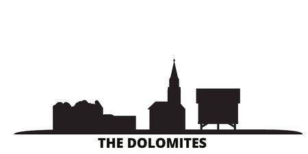 Italy, The Dolomites city skyline isolated vector illustration. Italy, The Dolomites travel cityscape with landmarks