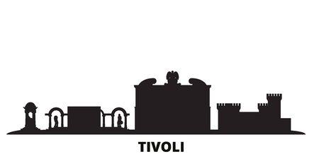Italy, Tivoli city skyline isolated vector illustration. Italy, Tivoli travel cityscape with landmarks