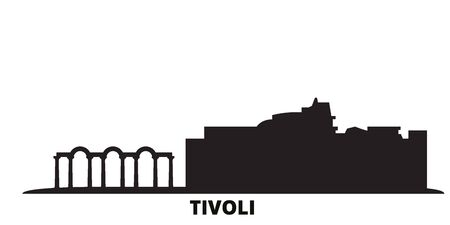 Italy, Tivoli, Villa Adriana city skyline isolated vector illustration. Italy, Tivoli, Villa Adriana travel cityscape with landmarks 向量圖像