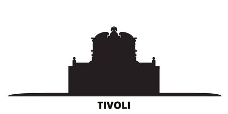 Italien, Tivoli, Villa Deste Skyline der Stadt isoliert Vektor-Illustration. Italien, Tivoli, Villa Deste reisen Stadtbild mit Sehenswürdigkeiten