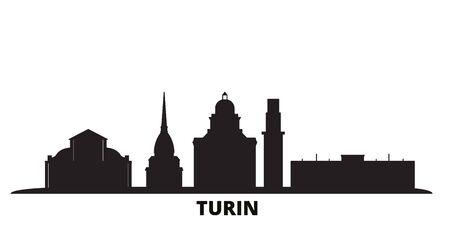 Italy, Turin city skyline isolated vector illustration. Italy, Turin travel cityscape with landmarks Ilustracja