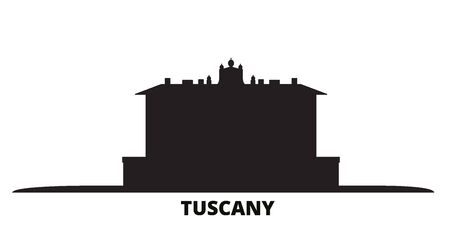 Italy, Tuscany, Medici Villas And Gardens city skyline isolated vector illustration. Italy, Tuscany, Medici Villas And Gardens travel cityscape with landmarks Standard-Bild - 134638106
