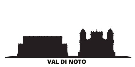Italy, Val Di Noto city skyline isolated vector illustration. Italy, Val Di Noto travel cityscape with landmarks Illustration
