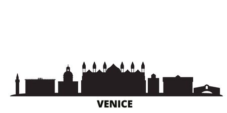 Italy, Venice city skyline isolated vector illustration. Italy, Venice travel cityscape with landmarks