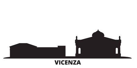 Italy, Vicenza city skyline isolated vector illustration. Italy, Vicenza travel cityscape with landmarks