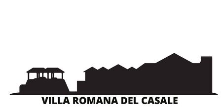 Italy, Villa Romana Del Casale city skyline isolated vector illustration. Italy, Villa Romana Del Casale travel cityscape with landmarks