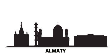 Kazakhstan, Almaty city skyline isolated vector illustration. Kazakhstan, Almaty travel cityscape with landmarks Illusztráció