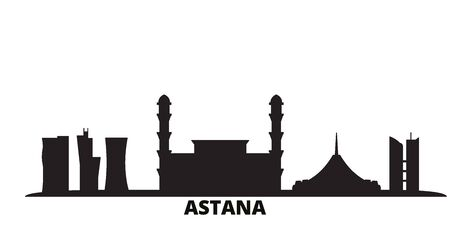 Kazakhstan, Astana city skyline isolated vector illustration. Kazakhstan, Astana travel cityscape with landmarks  イラスト・ベクター素材