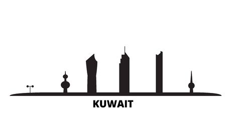 Kuwait, Kuwait city skyline isolated vector illustration. Kuwait, Kuwait travel cityscape with landmarks Stock Vector - 134558801
