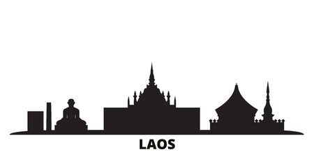 Laos city skyline isolated vector illustration. Laos travel cityscape with landmarks