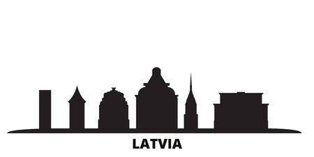 Latvia city skyline isolated vector illustration. Latvia travel cityscape with landmarks Stock Illustratie