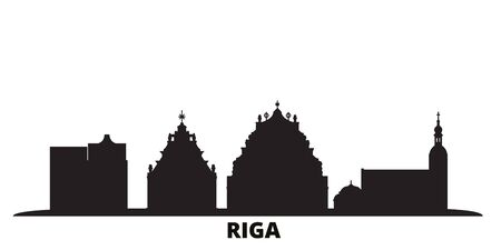 Latvia, Riga city skyline isolated vector illustration. Latvia, Riga travel cityscape with landmarks