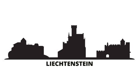 Liechtenstein city skyline isolated vector illustration. Liechtenstein travel cityscape with landmarks