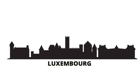 Luxembourg city skyline isolated vector illustration. Luxembourg travel cityscape with landmarks