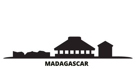 Madagascar city skyline isolated vector illustration. Madagascar travel cityscape with landmarks