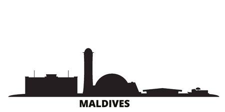 Maldives city skyline isolated vector illustration. Maldives travel cityscape with landmarks