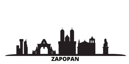 Mexico, Zapopan city skyline isolated vector illustration. Mexico, Zapopan travel cityscape with landmarks