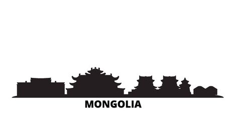 Mongolia city skyline isolated vector illustration. Mongolia travel cityscape with landmarks