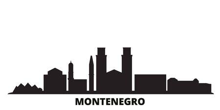 Montenegro city skyline isolated vector illustration. Montenegro travel cityscape with landmarks