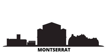Montserrat city skyline isolated vector illustration. Montserrat travel cityscape with landmarks