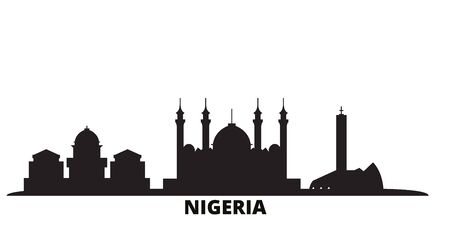 Nigeria city skyline isolated vector illustration. Nigeria travel cityscape with landmarks Иллюстрация