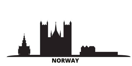 Norway city skyline isolated vector illustration. Norway travel cityscape with landmarks