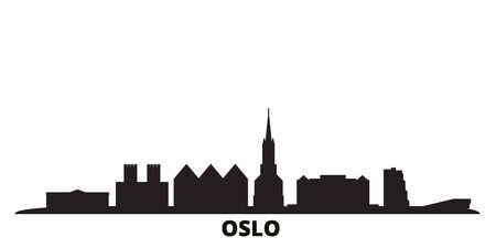 Norway, Oslo city skyline isolated vector illustration. Norway, Oslo travel cityscape with landmarks