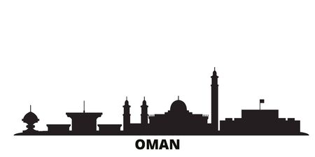 Oman, Muscat city skyline isolated vector illustration. Oman, Muscat travel cityscape with landmarks Vettoriali