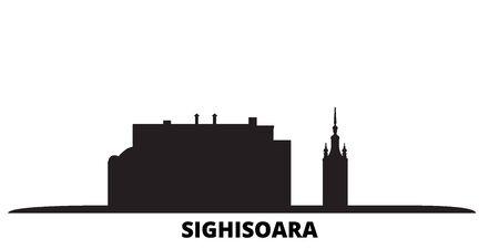Romania, Sighisoara city skyline isolated vector illustration. Romania, Sighisoara travel cityscape with landmarks