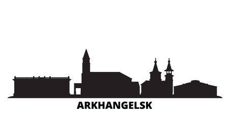 Russia, Arkhangelsk city skyline isolated vector illustration. Russia, Arkhangelsk travel cityscape with landmarks