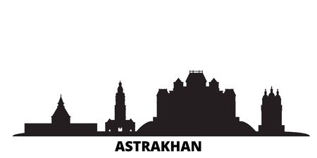 Russia, Astrakhan city skyline isolated vector illustration. Russia, Astrakhan travel cityscape with landmarks Ilustração