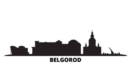 Russia, Belgorod city skyline isolated vector illustration. Russia, Belgorod travel cityscape with landmarks