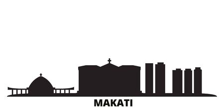Philippines, Makati city skyline isolated vector illustration. Philippines, Makati travel cityscape with landmarks